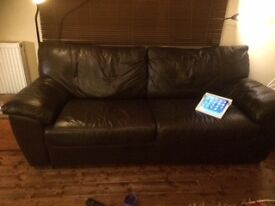 Sofabed - good condition, generous size, comfortable mattress, chocolate leather sofabed