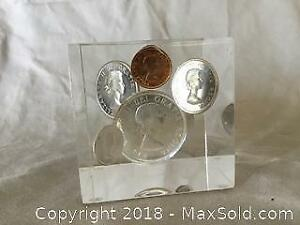 1963 Canadian Coins In Lucite A