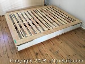 Ikea Bed frame With 4 Slide Out Storage Drawers C
