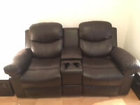 2 Seater Reclining Brown Faux Leather Sofa with cup holders