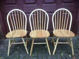 Rubberwood Kitchen chairs x3 (plus spare for repair or spares)