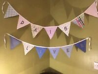 Decoration garlands boys and girls names,handmade 50p a flag free postage, 3.50 each garland.