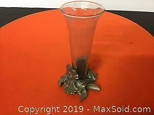 Miniature Pewter and Glass Vase