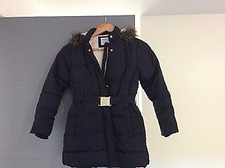 Marks and Spencer Girls Padded Coat with Fur Trim Hood