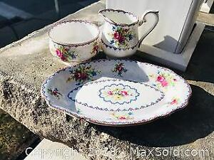 Vintage Royal Albert Petit Point Pattern Fine Bone China Cream and Sugar with Underplate