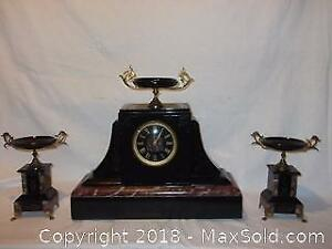 Large antique French marble mantel clock