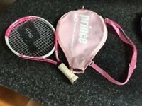 Girls Prince Air Team Maria 19 inch Tennis Racket & Cover - Pink/white - Good Condition