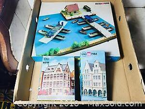 VINTAGE KIBRI GERMANY HO SCALE TRAIN LAYOUT TOWN ACCESORIES SETS MINT BOXED