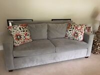 West Elm Grey Velour Feel Sofa, Two Chairs, Footstool and Cushions
