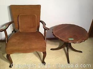 Claw Foot Pedestal Table And Upholstered Chair