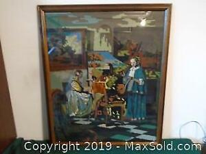 Large Needle Point Picture Framed