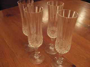 "Lonchamps ""Crystal D'arques""  Champagne Flutes - set of 4"