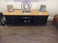 tv unit, black body and wooden top, immaculate condition only 6 months old from next home..