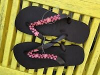 Pink Flowers Brown Havaianas size 4/5