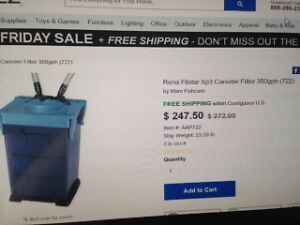 LIKE NEW RENA FILSTAR Xp3 CANISTER FILTER 350gph, 50-175 US GAL