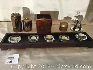 Candles, Holders and Decor Lot.