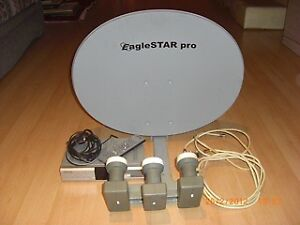 Satellite Dish + Receiver + Cables