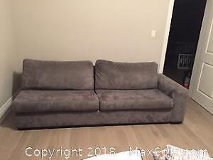 Large Custom Made 2 Piece Grey Sectional Sofa