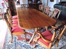 LARGE SOLID BLACKWOOD TABLE/MATCHING UPHOLSTERED CHAIRS Ulverstone Central Coast Preview