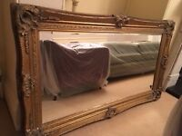 Ornate Large Brushed Gold Mirror - Baroque style. Excellent Condition
