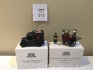 """Department 56 Village Accessories: """"Village Express Van""""& """"Chelsea Market Curiosities Monger & Cart"""""""