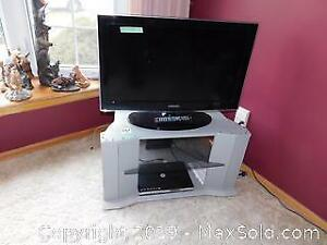 32-inch Samsung TV, DVD Player And Stand B