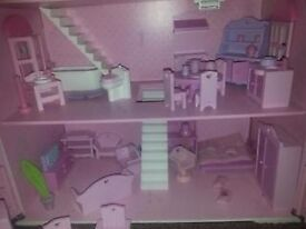 ELC ROSEBUD DOLLHOUSE WITH ALL THE FURNITURES