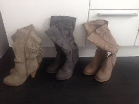 Knee length brand new ruched boots size 6