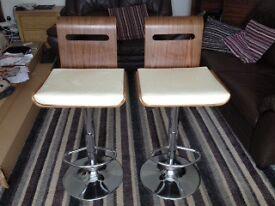 two walnut and chrome breakfast bar stools