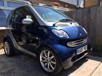Smart for two , Silver & Blue, 2007 Panoramic glass roof , MOT till 3/19, Alloy wheels