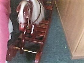 Solid Wood,Leather Saddle Reins Brass stirups,Real horse Hair mane & Tail