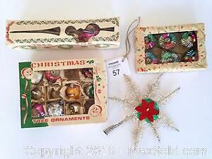 Vintage Christmas tree decorations and tree toppers. A