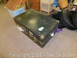 Vintage Metal Trunk And Contents A
