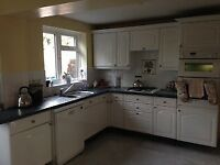 A full kitchen including a double fridge. Everything included except utensils, oven and hob.