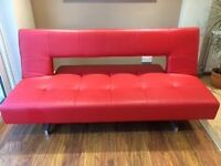 Sofa Bed / Sofa - Faux Leather in Red. Very Good condition.