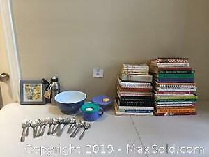 Cookbooks, Tupperware and Vintage Pyrex Lot