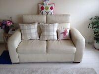 NOW SOLD - Two 2 seater cream leather reclining sofas. Good condition. Smoke free house.