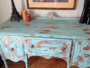 Vintage Hardwood Shabby Chic Weathered Table...free with the... London Ontario image 7