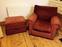 2 Comfy Armchairs + Pouffe with Storage