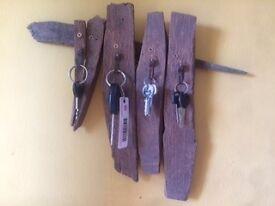 rustic hard wood key holder - 4 hooks