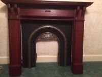 LIVING FLAME GAS FIRE, TEAK FIRE SURROUND AND BLACK MARBLE HEARTH £150 Must be collected