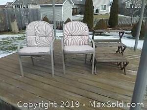 Lawn Chairs and Plant Stand A