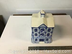 Blue And White Bank Cookie Jar