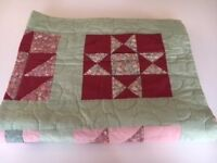 Handmade Heirloom Quilt – Pale green and pinks - reduced price of £14 - only 1 of 2 quilts left!