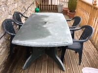1800 x 1000mm garden table and four chairs