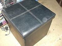 BLACK LEATHER FOOT STOOL - WITH STORAGE - CLACTON - CO15 6AJ Clacton-on-Sea B