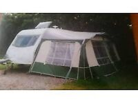 Caravan Awning For 2 Berth Good Condition Green Includes Curtains