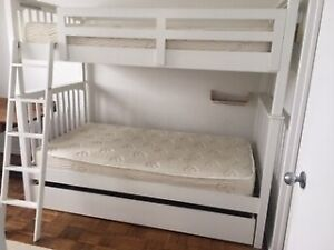"""Kids BunkHouse """"Full"""" Bunk Beds, white, with Trundle."""