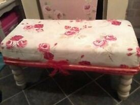 Beautiful Large Country Cream Farmhouse Floral Bench/Stool £25 or make me an offer
