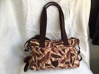 Authentic Kipling Medium Bag In Brown Tones Leaf Design